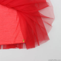 Pre Order: Red Multilayered Skirt With Velvet Top