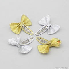 Shimmery Bow 4 Clips Set - Golden & Silver