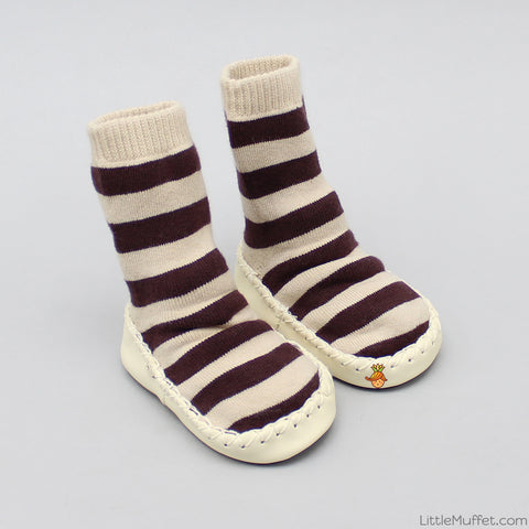 Striped Slipper Socks - Cream