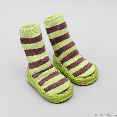 Striped Slipper Socks - Green