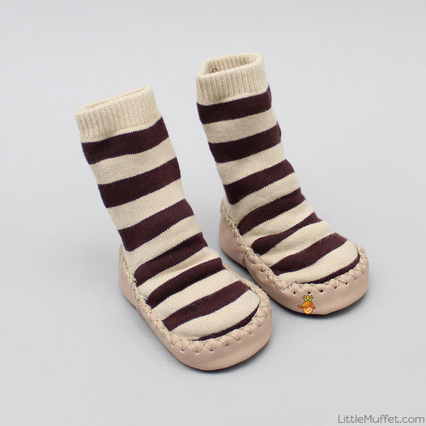 Striped Slipper Socks - Beige