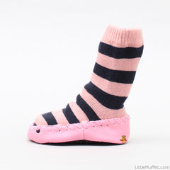 Striped Slipper Socks - Pink
