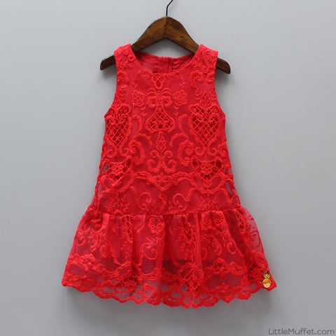 Red Cutwork Dress