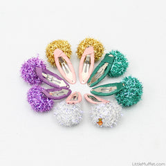 Multicolour Pom Pom Clip - Set of 8