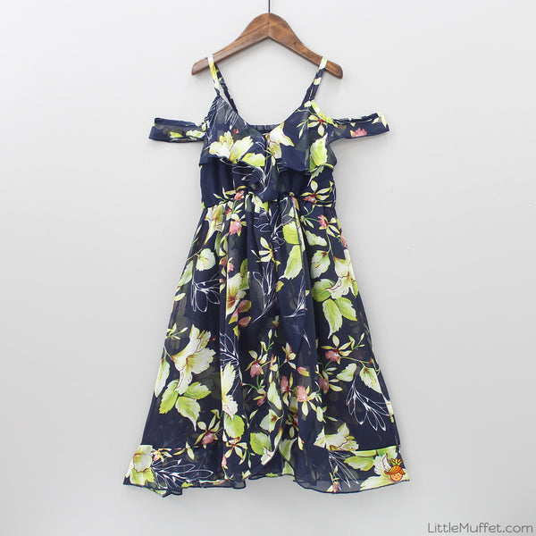 Flowery Cold-Shoulder Dress