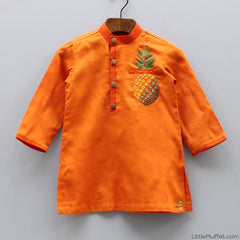 Pre Order: Pineapple Orange Kurta With Churidar