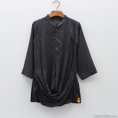 Pre Order: Black Kurta And Churidar With Jacket