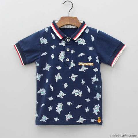 Navy Flower Polo