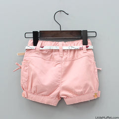 Bowy Peach Shorts With Belt