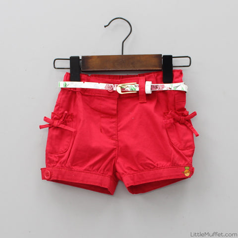Bowy Red Shorts With Belt