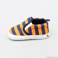 Orange Navy Blue Striped Booties