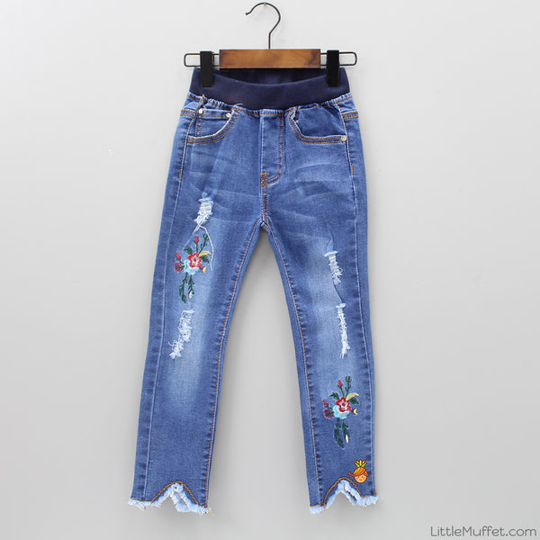 Flowery Embroidered Denim