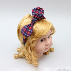 Checks Hairband - Red And Navy Blue