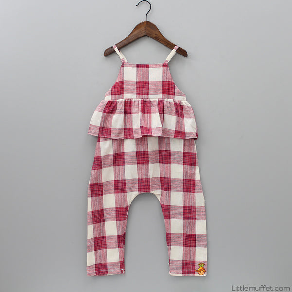 Red Checks Jumpsuit