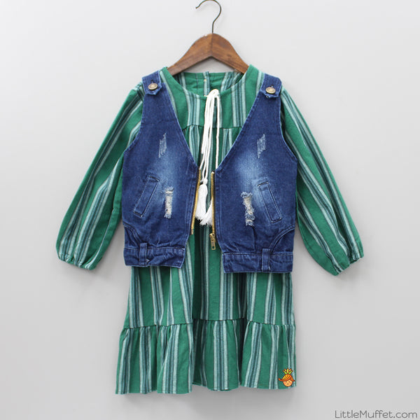 Green Dress With Denim Jacket