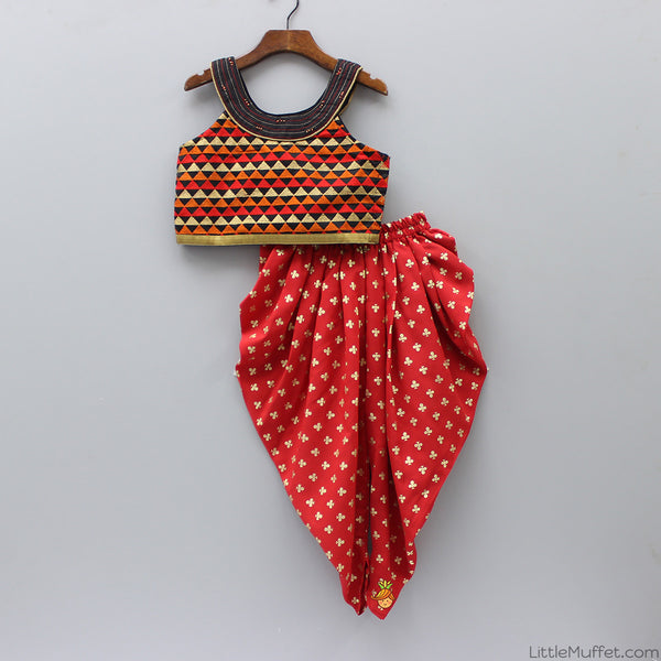 Multicolour Top With Red Printed Dhoti
