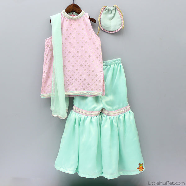 Pre Order: Pink Kurta with Aqua Blue Sharara