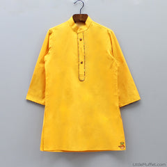 Pre Order: Yellow Kurta With Brown Churidar And Jacket