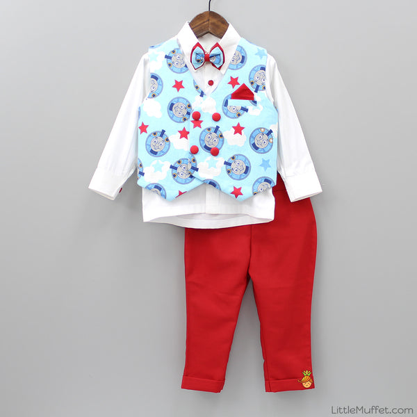 Pre Order: White Shirt With Blue Printed Nehru Jacket & Red Pant