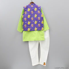 Pre Order: Green Kurta And White Churidaar With Purple Printed Jacket