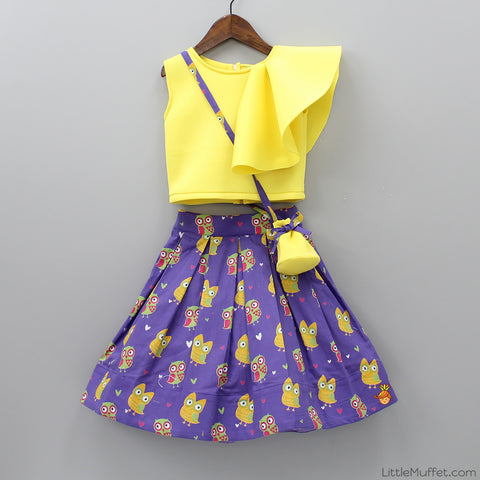 Pre Order: Yellow Crop Top with Purple Skirt