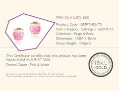 Pre Order: 18 KT Gold Pink As A Lady Bug