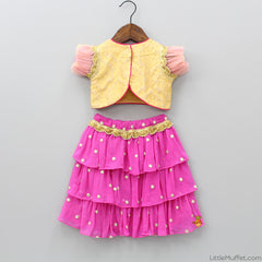 Pre Order: Golden top with Pink Layered Lehenga