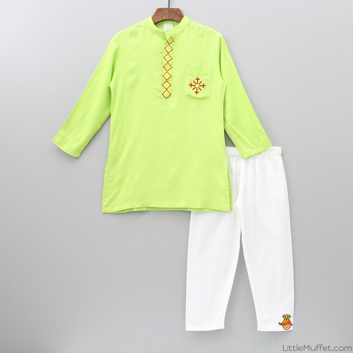Green Kurta And White Pyjama