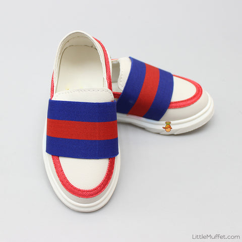 Red And Blue Striped Shoes