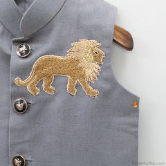 Pre Order: Grey Jacket With Lion Patch