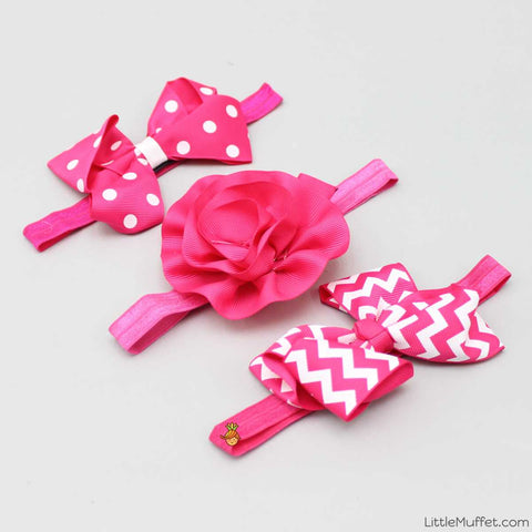 Rosy Bow Headband - Set Of 3
