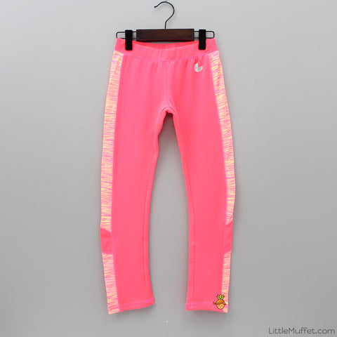 Sporty Leggings with Print at Panel -Neon Pink
