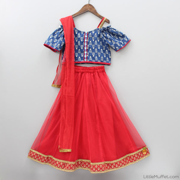 Navi Blue Cold Shoulder Choli  And Red Ghagra