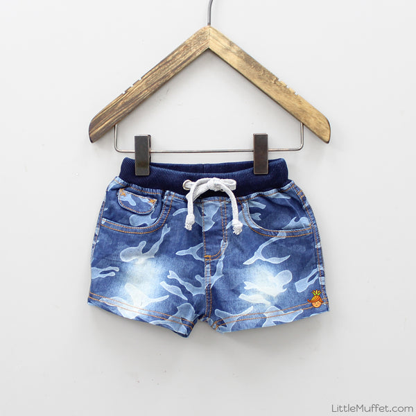 Denim Camouflage Shorts