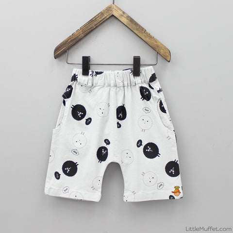 Grey Sheep Print Shorts