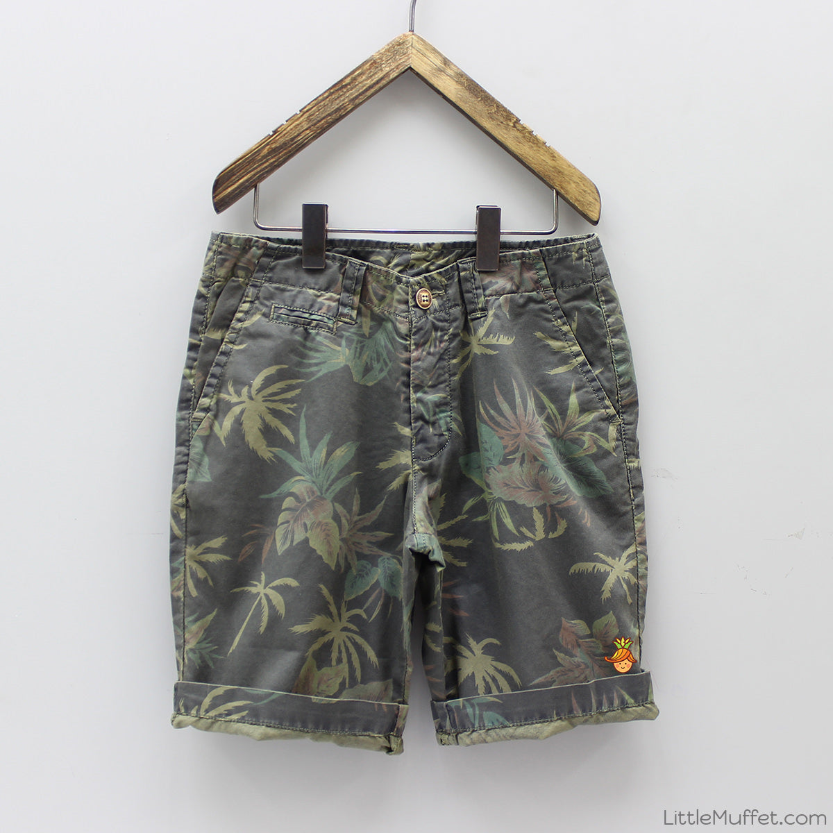 Palm Tree Print Shorts - Moss Green