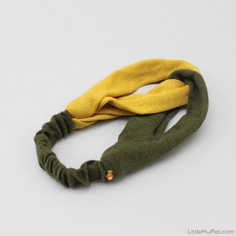Dual Tone Twisted Headband - Yellow & Green