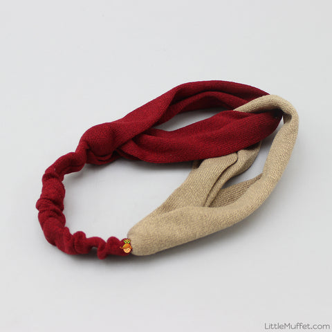Dual Tone Twisted Headband - Maroon & Beige