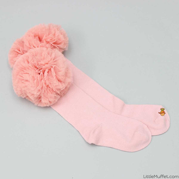 Frilly Pink Long Socks With Bow