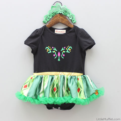 Black And Green Princess 2 Piece Bodysuit Set