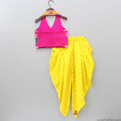Blouse Dhoti Set Pink And Yellow