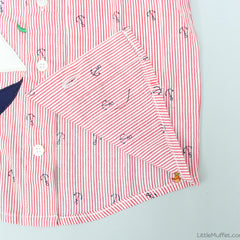 Pre Order: Red Stripy Shirt With Anchor Print
