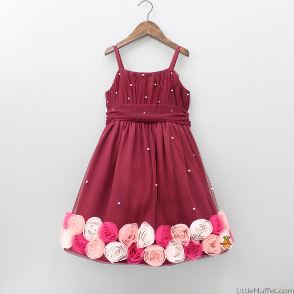 Pre Order: Maroon Net Dress With Rose