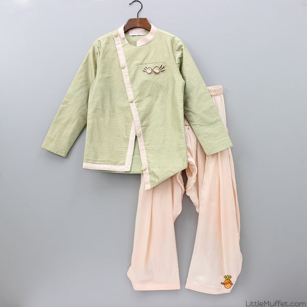 Pre Order: Green And Peach Dhoti Jacket
