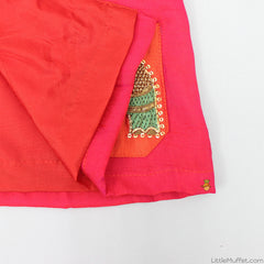 Pre Order: Elephant Motif Red Angarkha With Dhoti