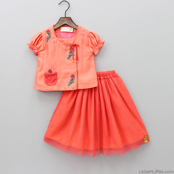 Pre Order: Parrot Motif Peach Top And Skirt