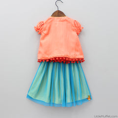 Pre Order: Butterfly Motif Peach Top And Skirt