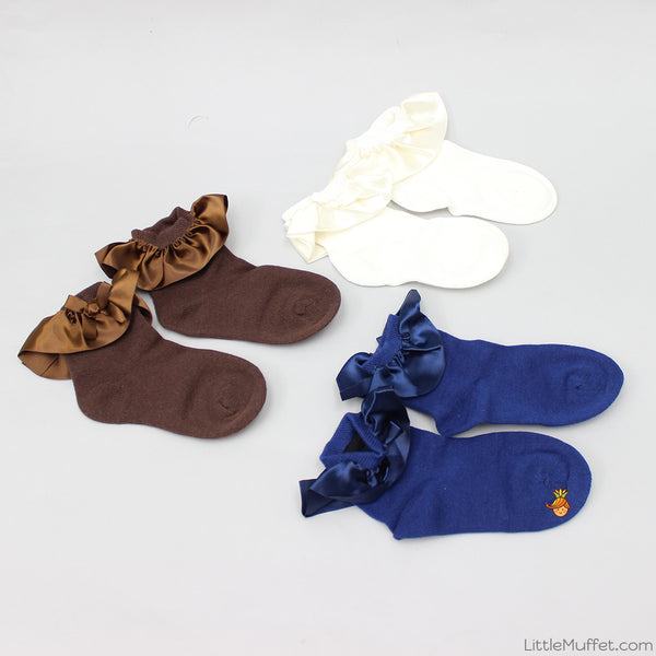 Frilly Party 2 Socks - Set Of 3 - Brown, Navy Blue & White