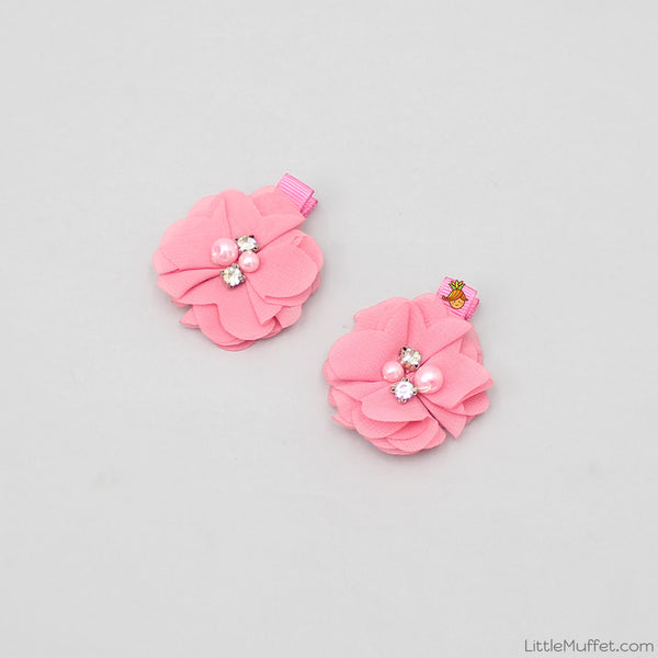 Pearly Pink Flower Clips - Set Of 2