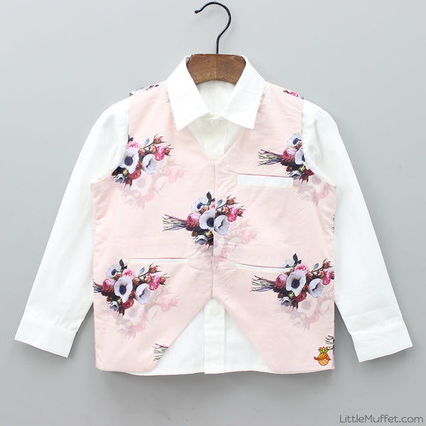 Pre Order: White Shirt With Floral Print Jacket